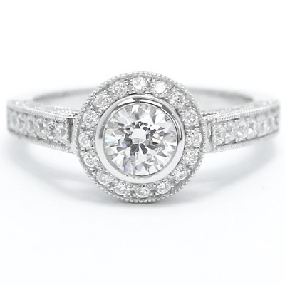 Diamond Accent Bezel Set Halo Engagement Ring 14k White Gold