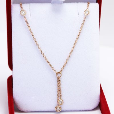 Diamonds and Chain in 14k Rose Gold GCR