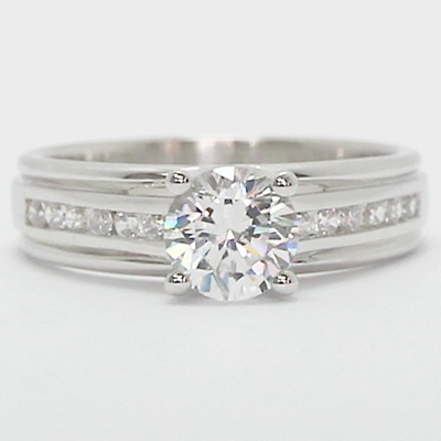 Double Groove Channel Set Diamond Ring 14k White Gold