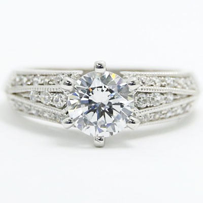 E93320 Three Side Diamonds And Milgrain Edges Engagement Ring 14k White Gold.jpg
