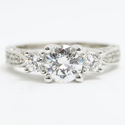 E93528 Three Stone Venetian Style Engagement Ring 14k White Gold