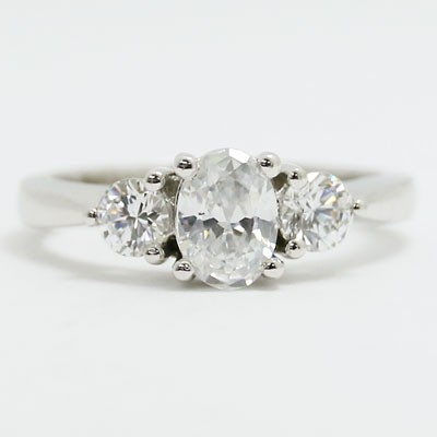 E93622-side Three Stone Double Gallery Engagement Ring 14k White Gold