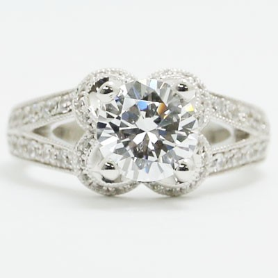 E93639 Flower Shaped Split Band Diamond Engagement Ring 14k White Gold.jpg