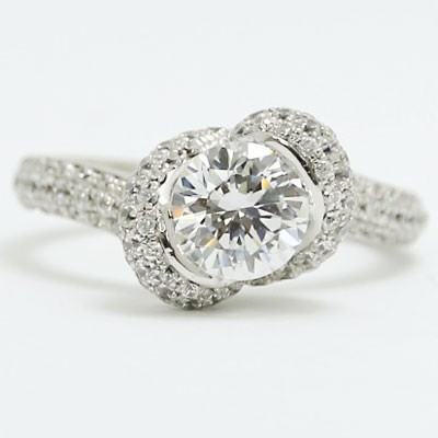 E93708 Flower Shaped Diamond Engagement Ring 14k White Gold.jpg