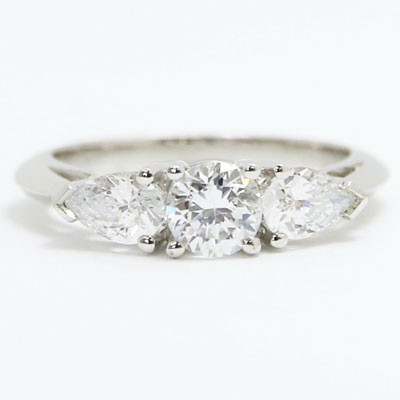 E93712 Pear and Round Cut Diamonds Engagement Ring 14k White Gold