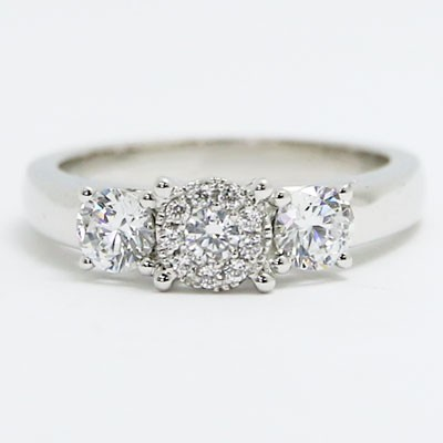 E94016-1 Three Stone Basket Setting Engagement Ring 14k White Gold
