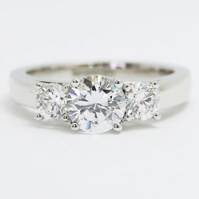 E94016 Three Stone Cathedral Engagement Ring 14k White Gold