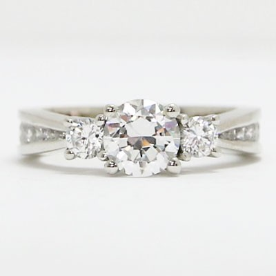 E94110 Three Stone Tapered Channel Set Diamond Engagement Ring 14k White Gold