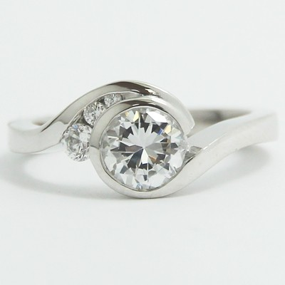 Euro Shank Swirl Style Engagement Ring 14k White Gold