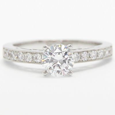 Filigree Designer Engagement Ring 14k White Gold