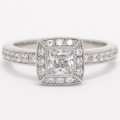 Filigree Princess Halo Eternity Engagement Ring 14k White Gold