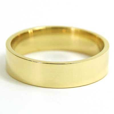 6mm Flat Wedding Band 10k Yellow Gold