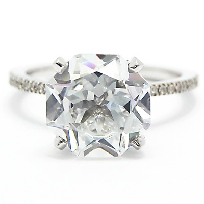 French Cut Micro Set Diamond Engagement Ring 14k White Gold