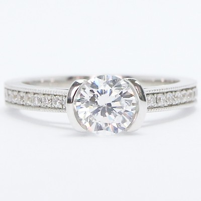 Half Bezel Diamond Engagement Setting 14k White Gold
