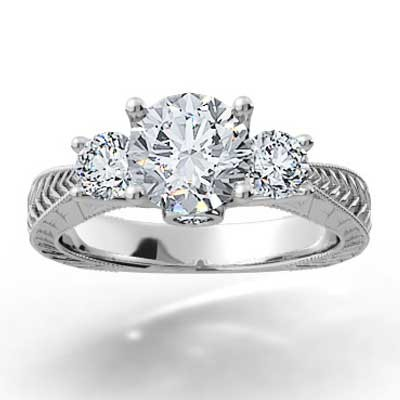 Hand Engraved Engagement Ring 14k White Gold