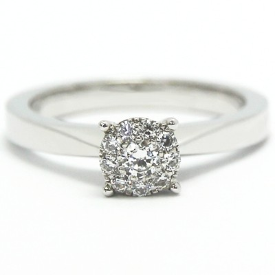Illusion Set Designer Ring 14k White Gold
