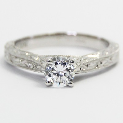 Intricate Hand Engraved Engagement Ring 14k White Gold