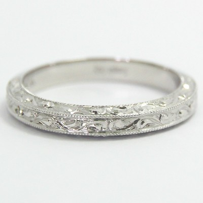 Intricate Hand Engraved Wedding Band 14k White Gold