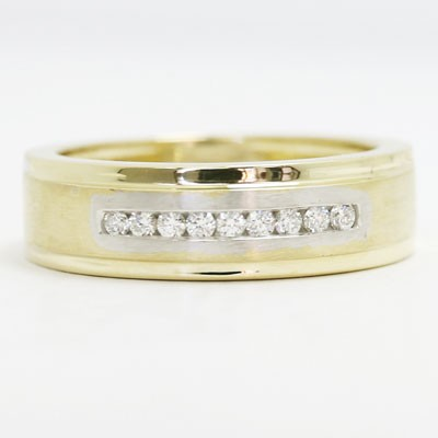 Mens Diamond Ring 10k White and Yellow Gold MER-P02