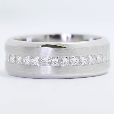 Mens Diamond Ring 14k White Gold AshC
