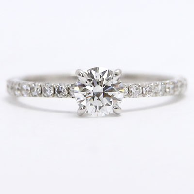 MER-P03 Delicate Tiny Diamond Engagement Ring 14k White Gold