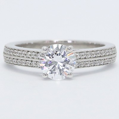 Micro Pave Double Row Engagement Ring 14k White Gold
