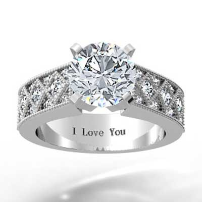 Milgrain Designed Diamond Engagement Ring 14k White Gold