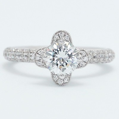 Milgrained Lotus Style Diamond Engagement Ring 14k White Gold