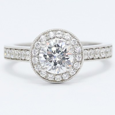 Milgrained Round Floating Diamonds Halo Engagement Ring 14k White Gold