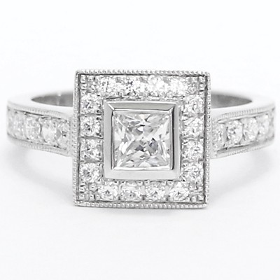 Pave Diamond Ring With Princess Cut Bezel 14k White Gold