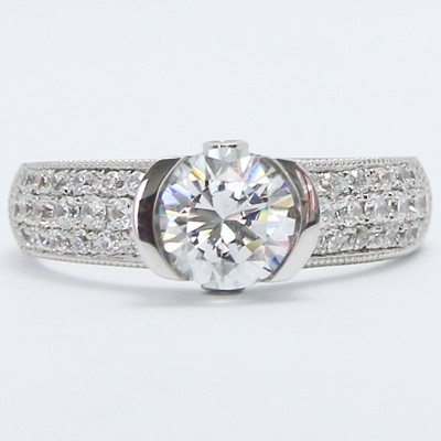 Pave Set Euro Shank Diamond Engagement Ring 14k White Gold