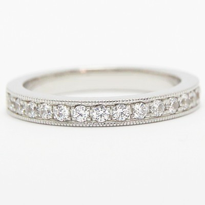 2.8mm Pave Set Tapered Wedding Band 14k White Gold