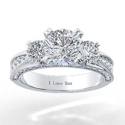 Pave Set Triple Sided Engagement Ring 14k White Gold