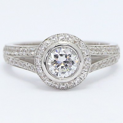 Pave Split Shank Halo Top Ring 14k White Gold