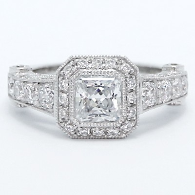 Princess Cut Octagon Halo Designer Ring 14k White Gold