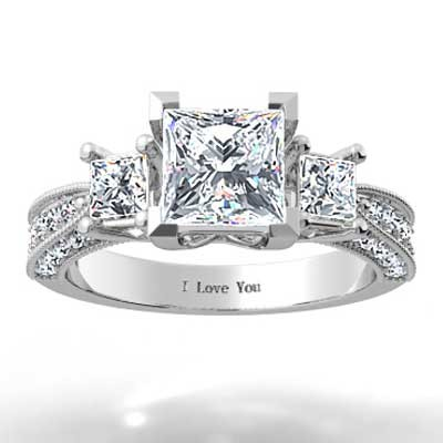 Princess Cut Pave Diamond Ring 14k White Gold