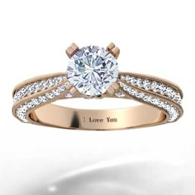 Triple Sided Pave Engagement Ring 14k Rose Gold