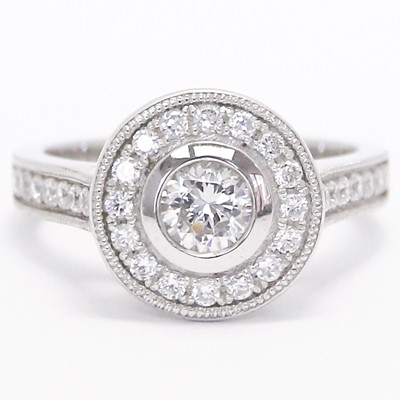 Round Bezel Halo Diamond Engagement Ring 14k White Gold
