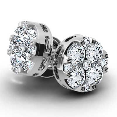 0.50 Carats Round Diamond Cluster 14k White Gold E-111785