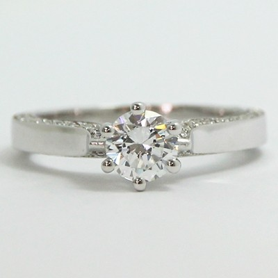 Six Prong Side Stone Style Engagement Ring 14k White Gold