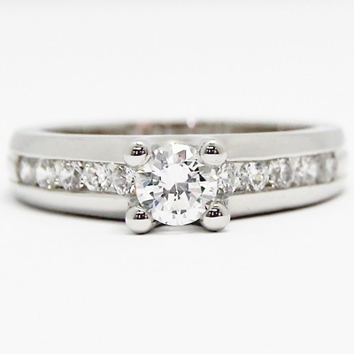 Solid Channel Set Designed Engagement Ring 14k White Gold