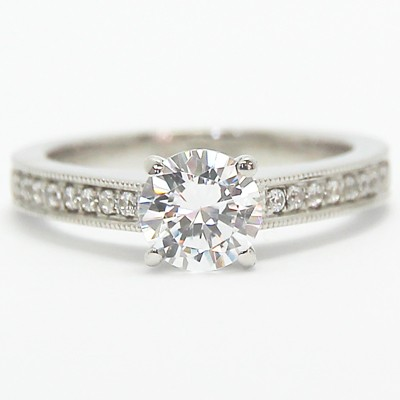 Solid Engraved Diamond Engagement Ring 14k White Gold