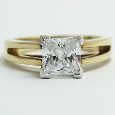 Split Band Princess Cut Engagement Ring 14k Yellow Gold