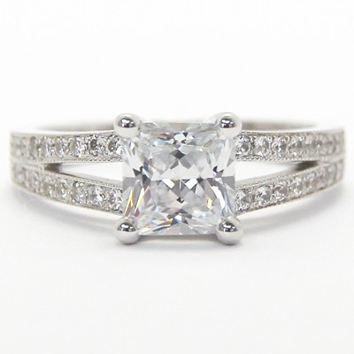 Split Band Princess Setting 14k White Gold