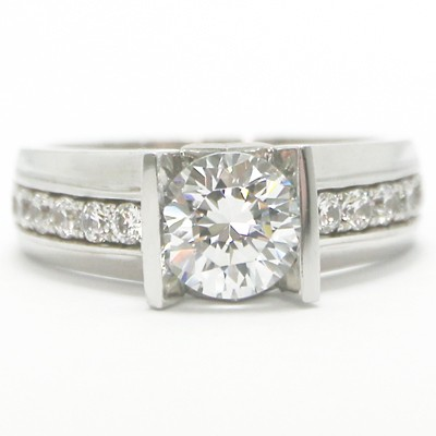 Straight Bar Tension Style Ring 14k White Gold