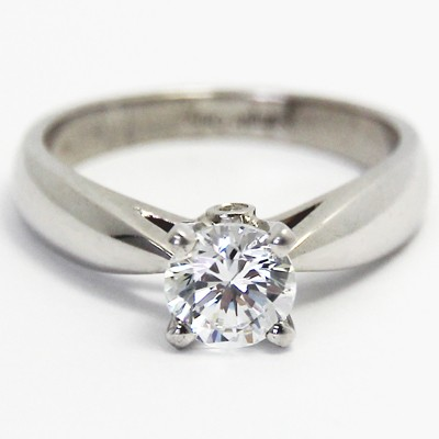 Surprise Diamond Solitaire Ring 14k White Gold