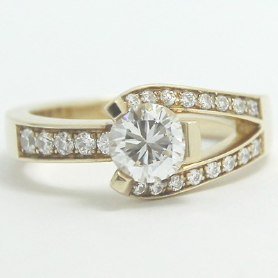 Swirl Style Diamond Engagement Ring 14k Yellow Gold