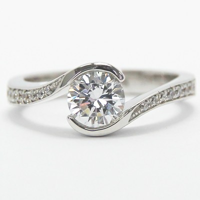 Swirl Style Engagement Ring 14k White Gold
