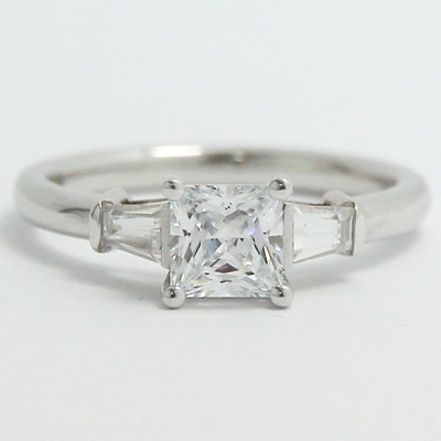 Tapered Baguette Princess Cut Diamond Ring 14k White Gold