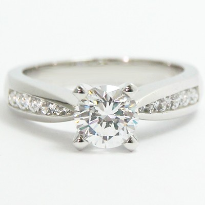 Tapered Channel Set Engagement Ring 14k White Gold
